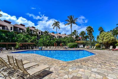 The 1-bedroom, 2-bathroom vacation rental is situated within Kamaole Sands.