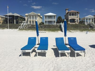 Your own lounges and umbrellas set up every day in season!