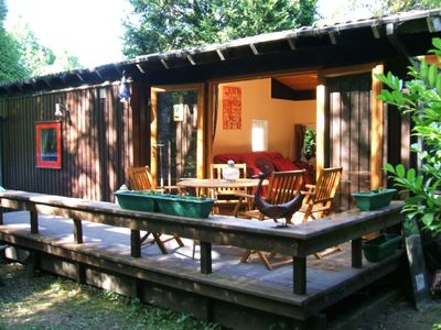 Pippy Lluest two bedroom pine lodge.