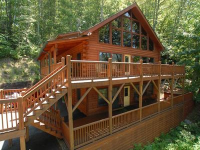 Photo for VIEWS - WATERFALL - HOT TUB - WOODS - SECLUDED -  HOT TUB - GREAT REVIEWS !!!!