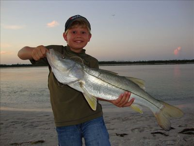 Nephew with Snook he landed right in front of the Condo