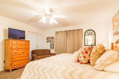 Master Bedroom has a King-size bed.