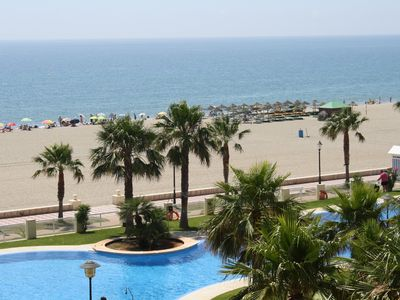 Photo for 1st LINE BEACH TERRACE with sea view SWIMMING POOL next to the sea WIFI A / A