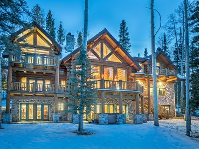 Photo for Luxurious log cabin home close to the slopes and nestled in the forest. High end finishes and privat