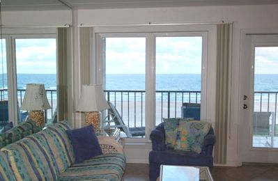 View of the Beach as seen from the Living, Dining Room and Kitchen