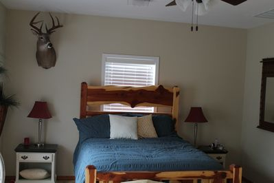 Queen size bed, huge master suite, room for add sleeping, balcony attached.