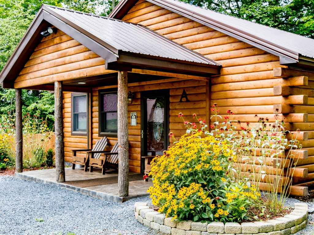 rustic log cabin retreat cayuga wine trail dogs welcome