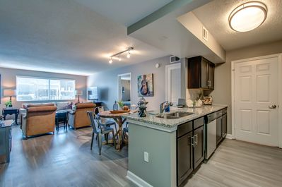 Our largest property, kitchen/Dining/Living room, looking East, Downtown, Ryman