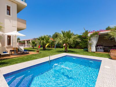 Photo for Villa Dimitrios, luxury! Whirlpool, private pool, gym, ping pong & playground!