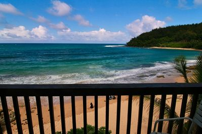 Moloa'a Bay BEACHFRONT from the Standing Room Only Upstairs Lanai
