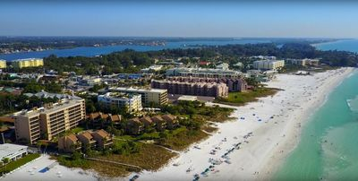 Aerial view of Siesta Breakers, Crescent Beach, and the Gulf of Mexico.