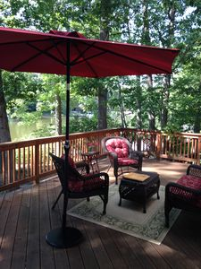 Relax and enjoy the view from the deck with your morning or evening beverage!.
