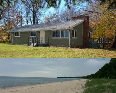 Photo for House with Large Deck over Wooded Ravine near Lake Michigan & Stairs to Beach