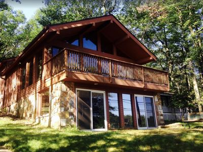 Photo for Beautiful Relaxing Chalet over looking  georgeous Lake Harmony!