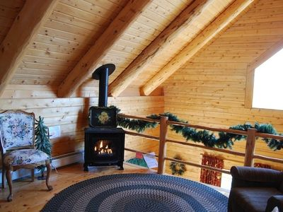 cabin with fireplace. Loft with fireplace sitting area Winter Fun  Beautiful Views Hot Tub HomeAway Ferrisburgh