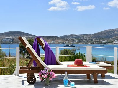Photo for Kolymbithres Beachfront Villa, great Naousa views