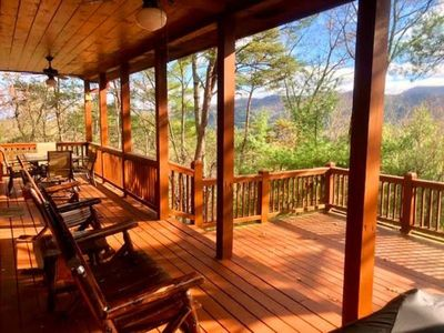 Photo for 2BR/2BA , Sleeps 4, Newly Renovated, Exquisite Cabin Decor, Long Range Mountain View, Dog Friendly (