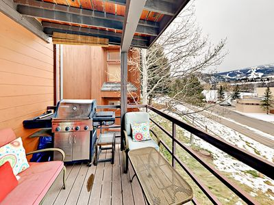 Balcony - Sliding glass doors open to the private balcony with a wonderful view of Beaver Creek Mountain.