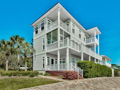 Photo for 8br Beach View Luxury Home | XL Courtyard |  Heated  Pool | Game Room | Golf Cart