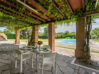Photo for Beautiful private villa with private pool, hot tub, WIFI, sauna, TV, patio, panoramic view, parking