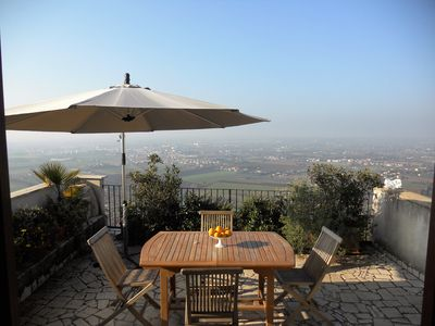 Photo for Le Camere Pinte: New Tellus apartments, terrace with great view, with pool use