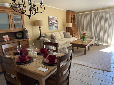 new couch, recliner chairs, table, dining room chairs - undated furniture in living room,