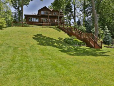 Photo for Rustic Luxury Log Home on the Lake, Cedar Lake, IN, Boating near Chicago, IL