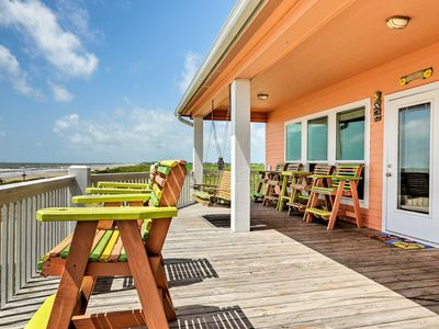 Photo for Beachfront Crystal Beach Home w/ Deck & Patio