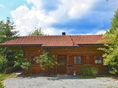Photo for Beautiful wooden bungalow in the Bavarian Forest with garden, terrace and view