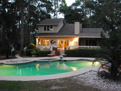 Photo for Private Acre Estate ~ Pickle Ball, Heated Pool/Spa, Screen Porch ~ Beach Nearby