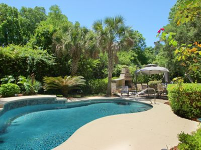 Photo for Relaxing getaway with private pool, patio, outdoor fireplace - walk to the beach
