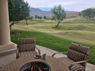 Propane fire pit to relax and enjoy the view on the 16th fairway.
