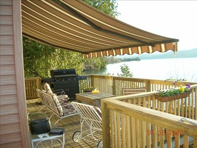 Upper Deck (partial) with view of lake Lake Champlain and Awning