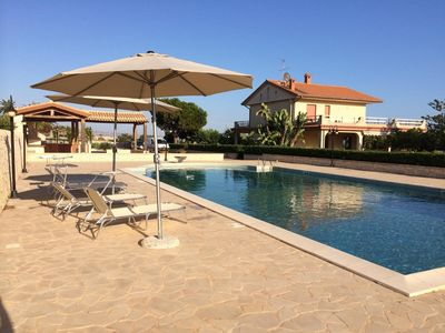 Photo for Villa with 18-meter Pool, Childrens' Pool, Sea View, Large Garden, Free WiFi