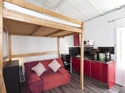 Photo for Intimate studio apartment, housing up to three guests in Paris?s charming Latin Quarter.
