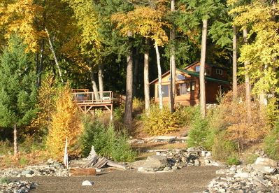 Autumn view of cabin from lake