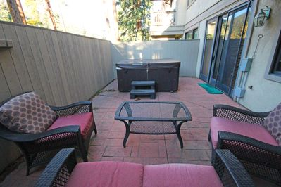 Patio with outdoor furniture.