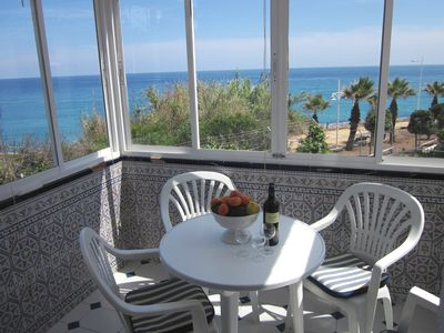 Photo for Nerja town: sea views to S & E, 2B 2B, free wifi, a/c, garage, pool, beach 200m