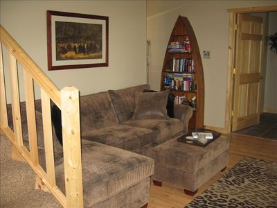 quiet reading area with gas fireplace