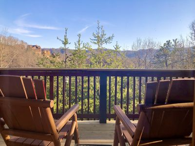 Enjoy peaceful views from the deck of Alpine Belle