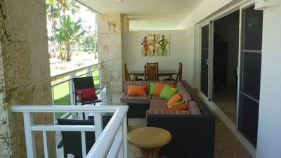 The 'Outdoor Living Room' complete with seating area, dining area and lounge