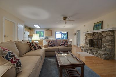 Open Great Room with Fireplace