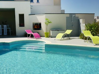 Photo for This 4-bedroom villa for up to 8 guests is located in Cap D'Agde and has a private swimming pool, ai
