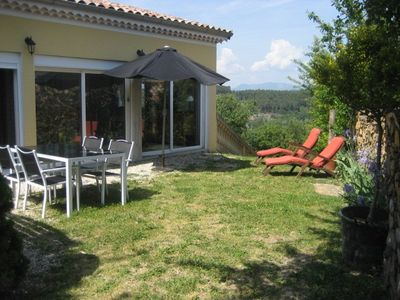 Your private garden with access to pool and sauna