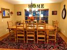 Lodge dining room sits 8 at the family size table