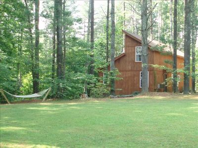 looking at other side of cabin from volleyball/play area