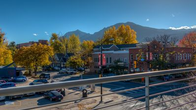 Flatirons Mtn view from private balcony. Automated bike rental across street.