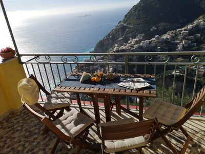 Photo for HOUSE WITH PRIVATE PARKING AND MAGNIFICENT VIEW ON THE BAY OF POSITANO