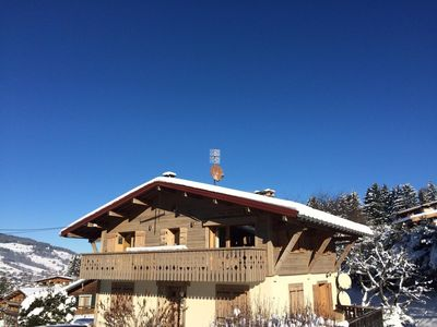 Photo for EXCLUSIVE & CHIC, UNIQUE QUIET HALF CHALET IN MEGEVE. 90m FROM SLOPES! 360° VIEW