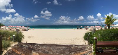 Beautiful Grace Bay from the ocean front steps of Ocean Club West Resort.